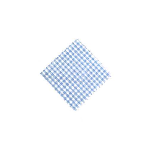 Stof overlapje karo lichtblauw 12x12cm incl. textiel lus