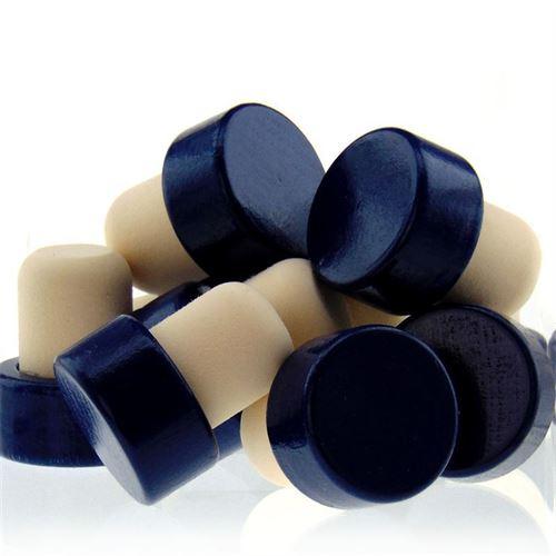 Tappo in sughero con piano in legno Tipo M (19mm) blu