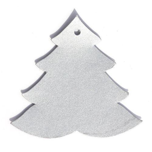"Tarjetita colgante ""Arbol de Navidad"" argénteo"