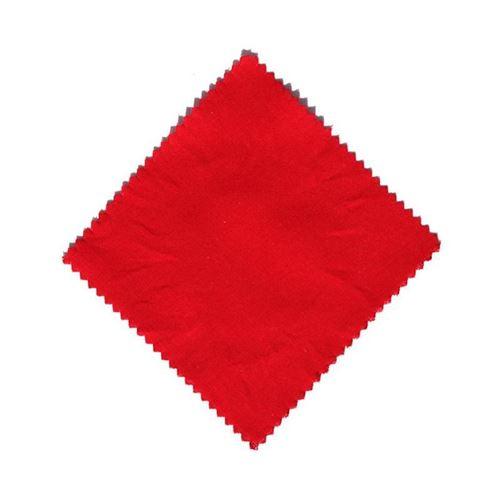 Tygbit, röd 12x12cm, med tygrosett
