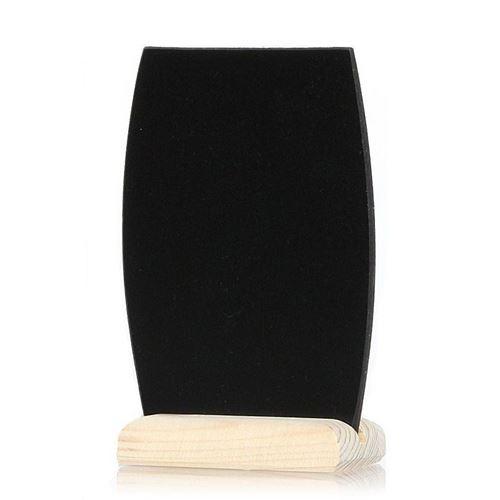 "Zwart bord ""vat"" op houten voetje"