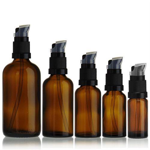 20ml bottiglia per medicina marrone con pompa a lozione nera