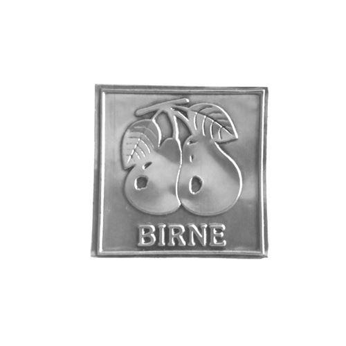 """Metalletikett """"Birne"""" mit Text"""