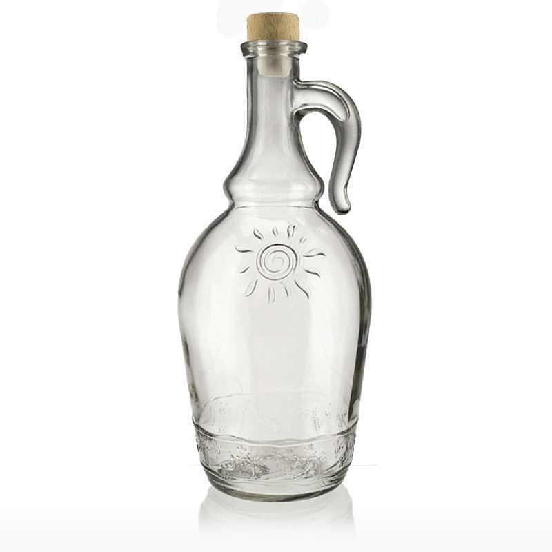 1000ml bouteille en verre clair sunny avec poign e bouteilles et. Black Bedroom Furniture Sets. Home Design Ideas