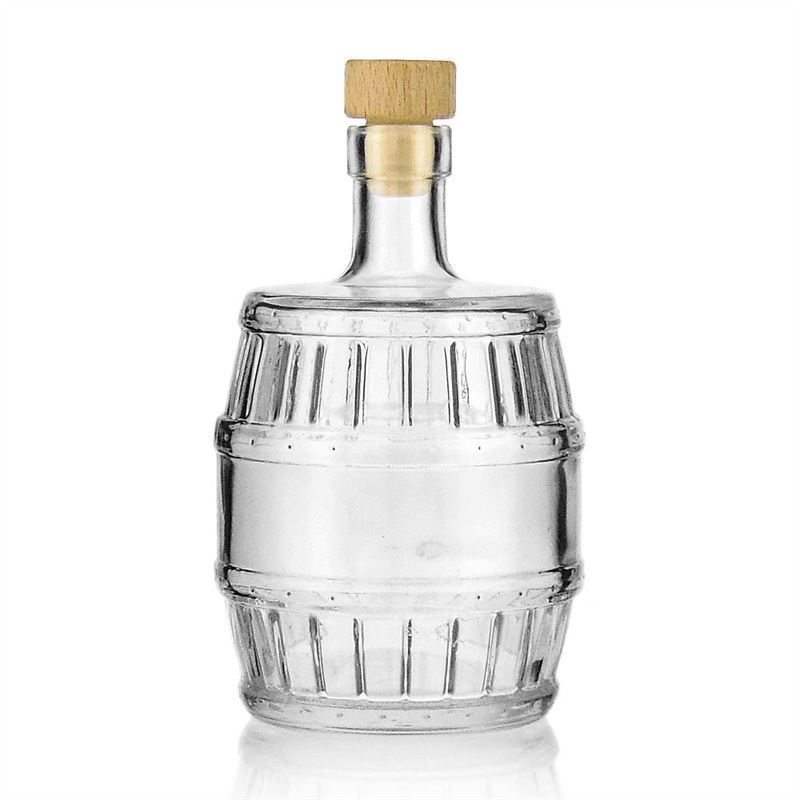 500ml klarglasflasche fass mit korkm ndung. Black Bedroom Furniture Sets. Home Design Ideas