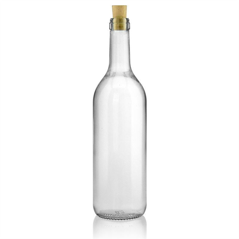 750ml botella de vidrio transparente Bourdeaux con cinta allege