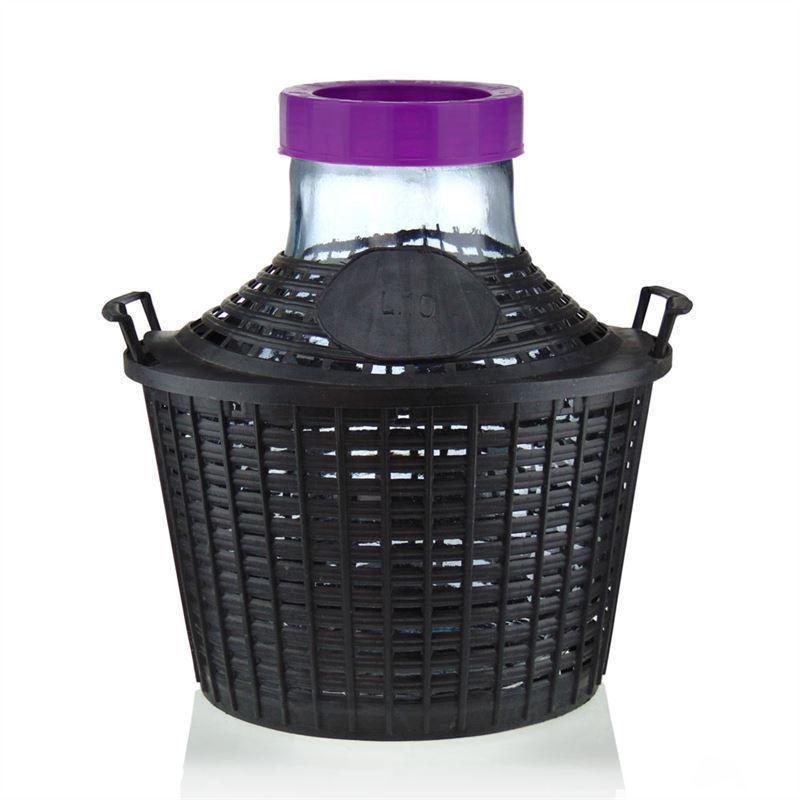 bouteille bonbonne col large de 10 litres avec panier en plastique bouteilles et. Black Bedroom Furniture Sets. Home Design Ideas