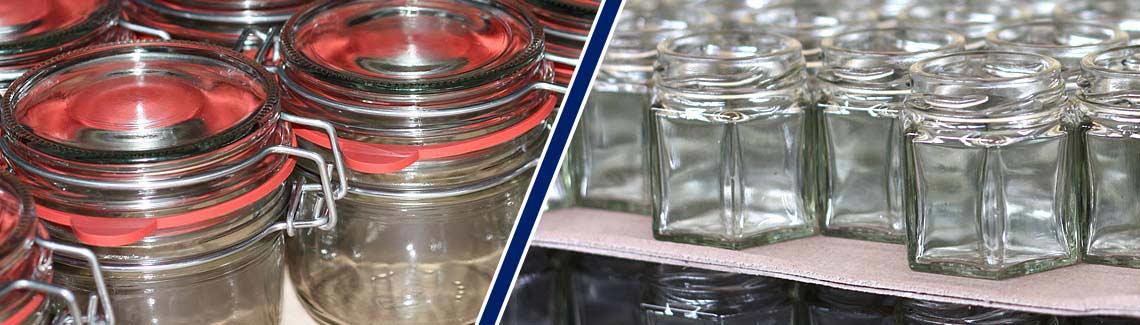 Banner Marmeladengläser und Einmachgläser aus dem Flaschenland