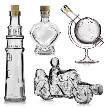 Shaped glass bottles