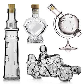 Butelki o różnych kształtach